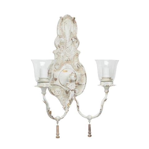 """17"""" x 24"""" Large Vintage Distressed White Metal and Wood Wall Sconce w 2 Lanterns - 17 x 8 x 24"""