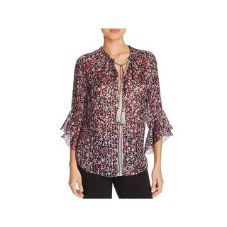 Elie Tahari Womens Venisia Blouse Silk Metallic
