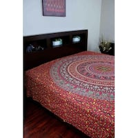 Handmade Sanganer Floral Mandala 100% Cotton Tapestry Tablecloth Bedspread Coverlet Beach Sheet Dorm Decor