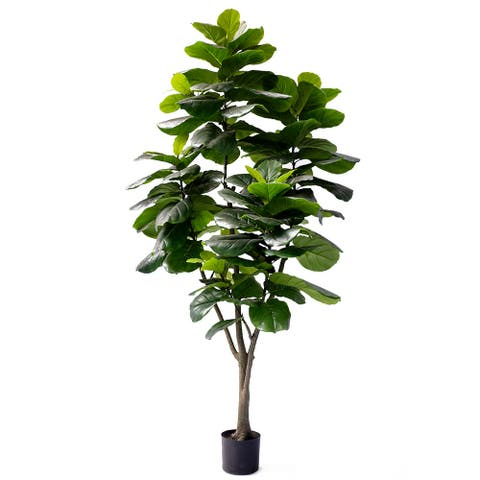 """7.5ft Natural Touch Large Fiddle Leaf Fig Tree in Pot - 90"""" H x 38"""" W x 38"""" DP"""