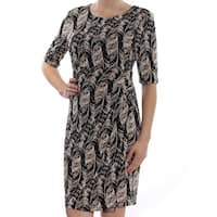 Connected Apparel Brown Womens Size 8 Abstract Print Sheath Dress