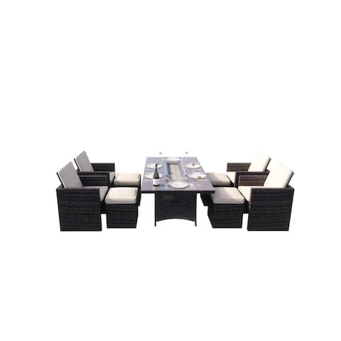 Rectangle Gas Fire Table Patio Wicker Dining Set