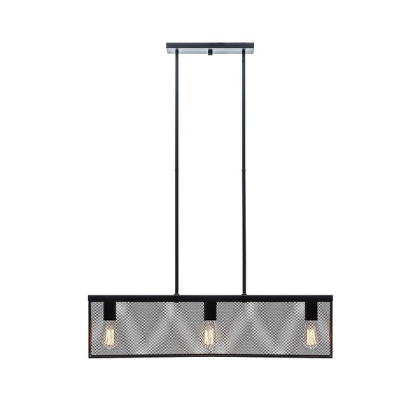 Globe 65019 Three Light Linear Pendant with Metal Mesh Shade, Black