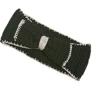 Fashion Headband Womens Black Contrast Bow Accent Crochet Headband