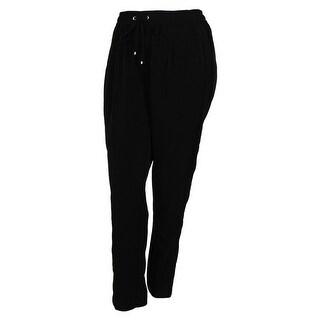 Calvin Klein Women's Mesh Trim Drawstring Pants - Black