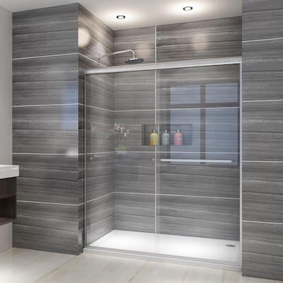 ELEGANT 54''W x 72''H Semi-Frameless Double Sliding Shower Door Brushde Nickel