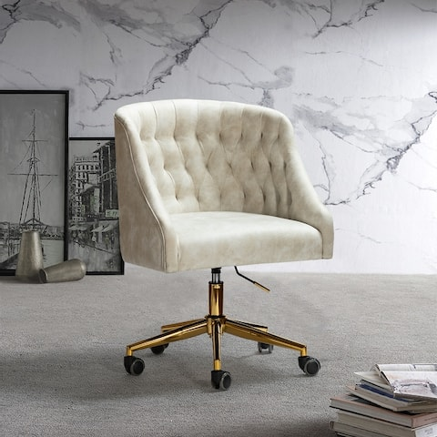 ET Tufted Task Chair With Golden Base