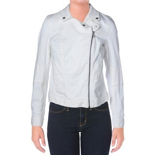 Two by Vince Camuto Womens Moto Asymmetrical Denim Jacket