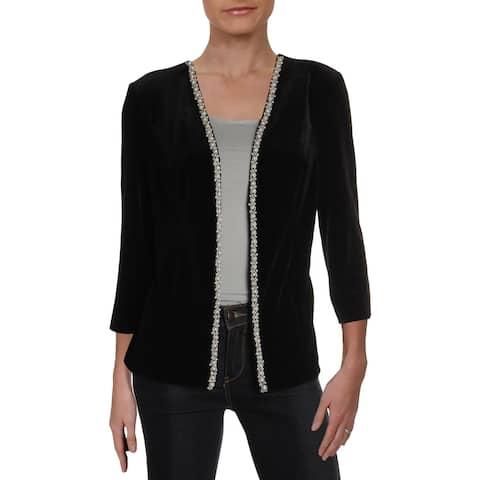 Alex Evenings Womens Collarless Blazer Velvet Embellished - S