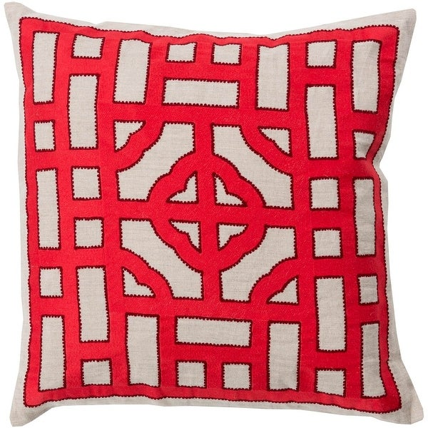 "22"" Fire Engine Red and Cream White Decorative Throw Pillow"