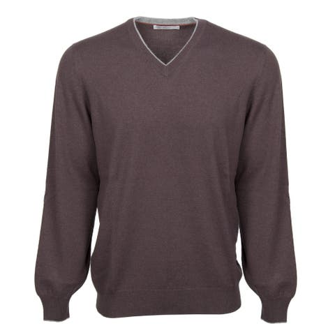 Classic V-Neck Cashmere Sweater in Brown - 56