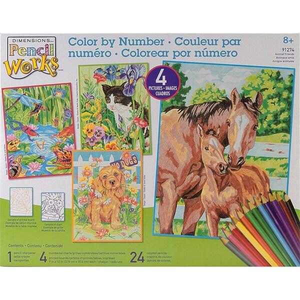 """Pencil Works Color By Number Kit 9""""X12"""" 4/Pkg"""