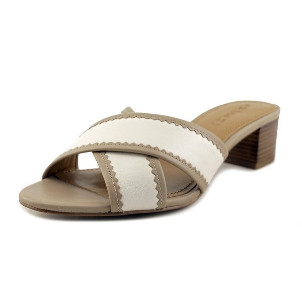 Coach Murielle Women Open Toe Leather Nude Slides Sandal