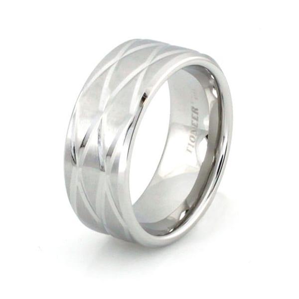 Stainless Steel Cross-Cut Beveled Ring