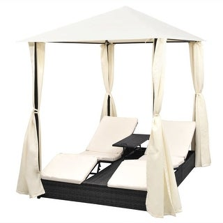 vidaXL 2-Person Outdoor Daybed with Curtains Poly Rattan Black