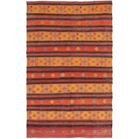 ECARPETGALLERY Flat-weave Kashkoli FW Dark Red, Orange Wool Kilim - 5'9 x 9'7
