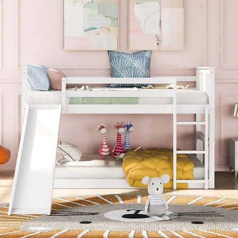 """Wooden Twin Over Twin Bunk Bed-79.5"""" L x 85"""" W x 51.1""""H"""