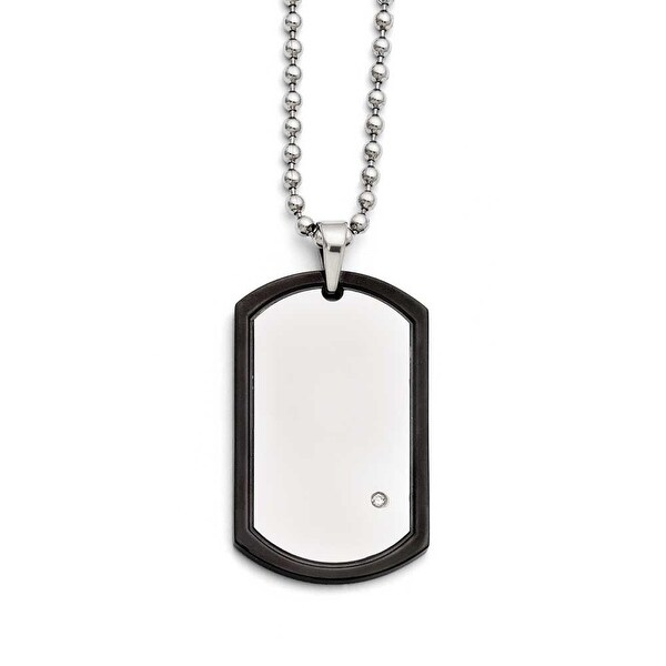 Chisel Stainless Steel Black IP-plated With CZ Dogtag Polished Necklace (3 mm) - 22 in