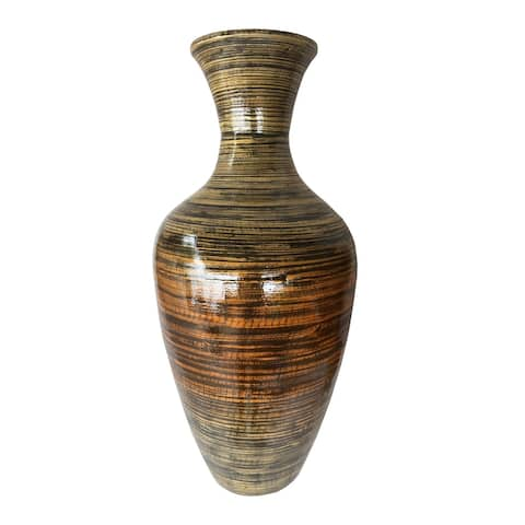 "25"" High Black And Gold Spun Bamboo Floor Vase"