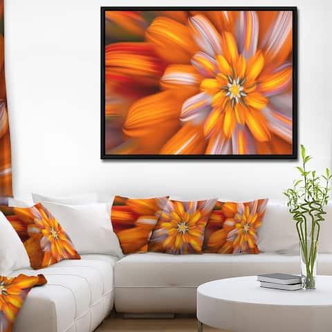Designart 'Massive Orange Fractal Flower' Floral Framed Canvas Art Print