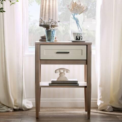 Furniture of America Caldera Mid-Century Brown Lower Shelf Nightstand