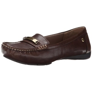 LifeStride Womens Viva Faux Leather Moc Toe Loafers