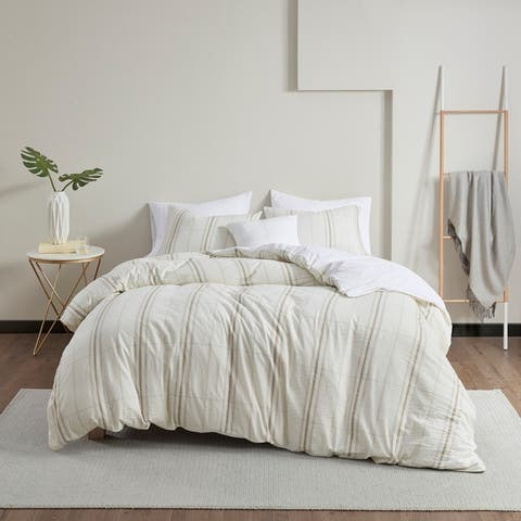 Peyton Taupe/ Ivory 5 Piece Organic Cotton Yarn Dyed Oversized Comforter Cover Set by Clean Spaces