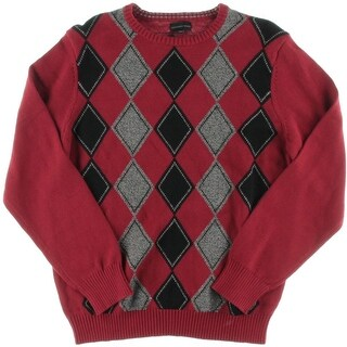 Geoffrey Beene Mens Argyle Long Sleeves Pullover Sweater