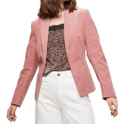 Miss Selfridge Womens Corduroy Blazer Blush Pink Size 2 Open-Front