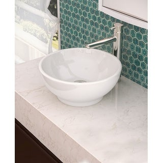 """DecoLav 1441 Aila 15-5/8"""" Round Vitreous China Vessel Lavatory Sink with Overflow - Ceramic White - N/A"""
