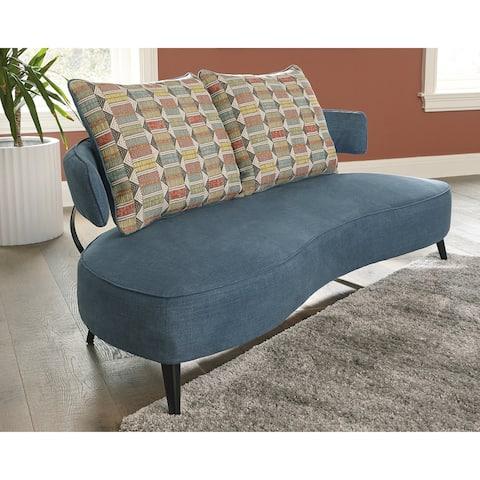 "Hollyann Mid-Century Modern Blue Sofa - 77""W x 37""D x 35""H"