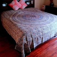 Kalamkari Block Print Tapestry Floral Paisley Mandala Cotton Coverlet Throw Bedspread Full Queen Blue Red
