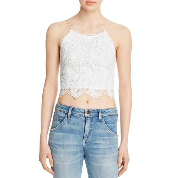 Cotton Candy Womens Juniors Crop Top Gauze Lace Overlay