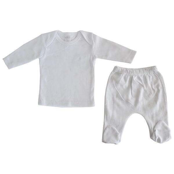 Bambini White Interlock Long Two Piece Set - Size - Large - Unisex