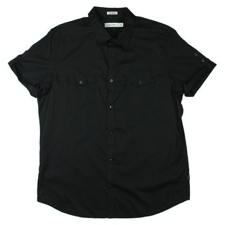 Calvin Klein Mens Cotton Short Sleeves Button-Down Shirt - L