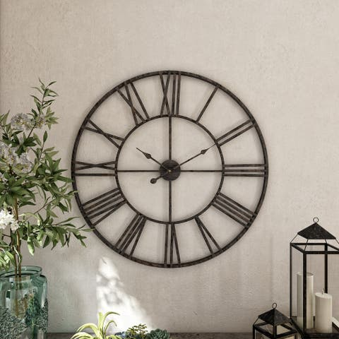 Solange Round Metal Wall Clock