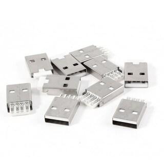 Unique Bargains 10 Pcs USB 2.0 A Type Male PCB Mount Port Plug Jack Socket Repair Parts