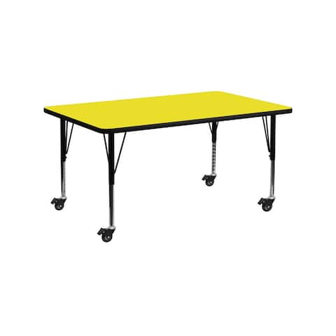 """Offex 24""""W x 60""""L Mobile Rectangular Activity Table with 1.25"""" Thick High Pressure Yellow Laminate Top and Pre-School Leg - N/A"""