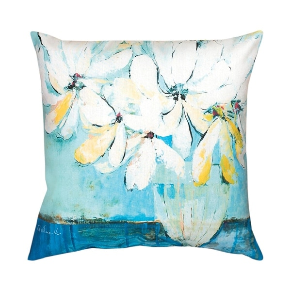 "20"" White Bouquet Square Throw Pillow"