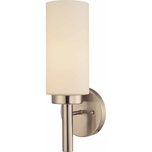 "Volume Lighting V2121 13.75"" Height Wall Sconce with 1 Light and White Glass"