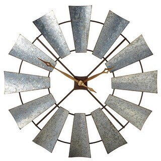 """38"""" Rustic Galvanized Metal Windmill Wall Clock with Two Hands in the Center"""