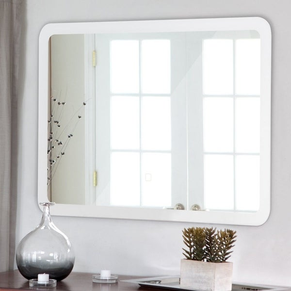 LED Wall-mounted Bathroom Rounded Arc Corner Mirror w/ Touch