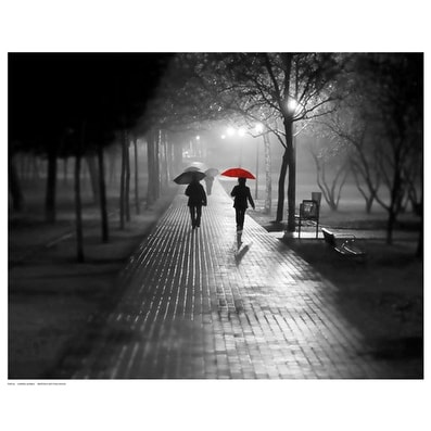 ''Umbrella Walk'' by Anon Photography Art Print (11.5 x 14.5 in.)