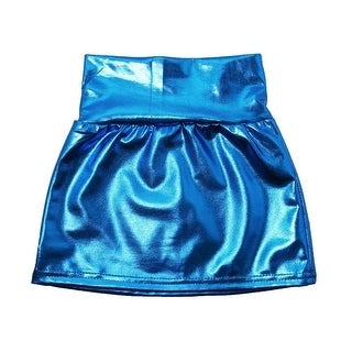 Little Girls Blue Metallic Shine Stretchy Lightweight Soft Skirt 3T-5