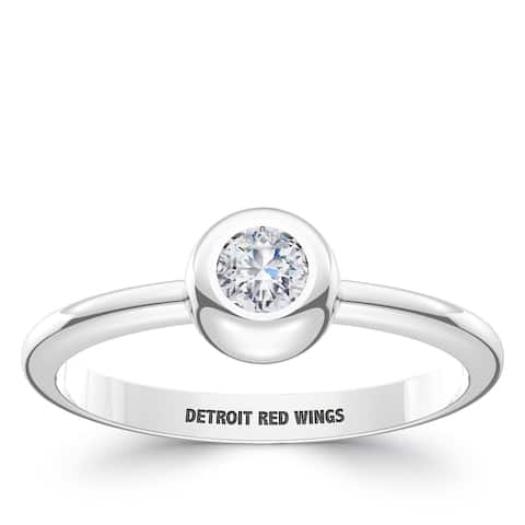 Detroit Redwings Engraved Sterling Silver Diamond Ring