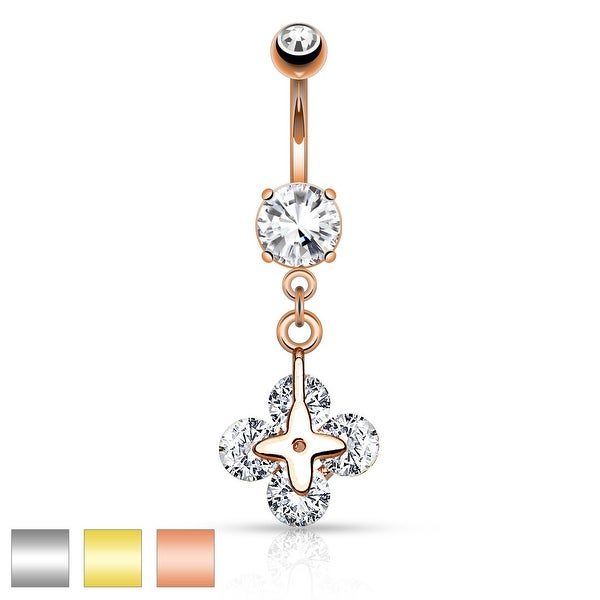 Four Round Clear CZ Shamrock Dangle Navel Ring