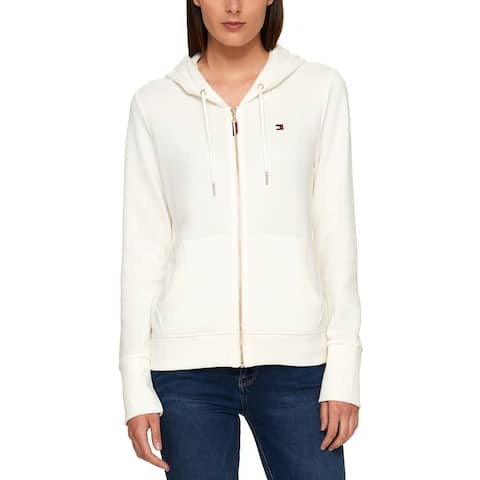 Tommy Hilfiger Womens Hoodie Logo Hooded Ivory L