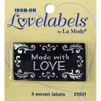 Made With Love - Black - Iron-On Lovelabels 4/Pkg