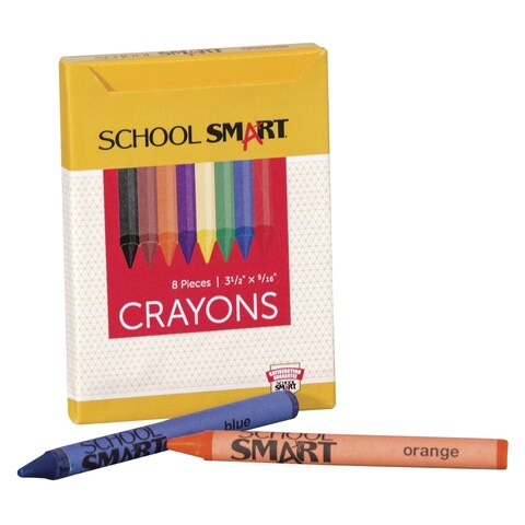 School Smart Crayons in Tuck Box, 5/16 x 3-1/2 in, Assorted Colors, Pack of 8