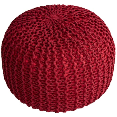 """Cheer Collection Decorative 18"""" Chunky Hand-Knit Round Pouf"""
